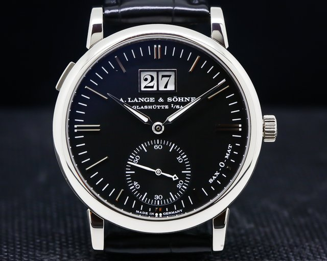 A. Lange and Sohne 308.027 Langematik Big Date Black Dial 18K White Gold