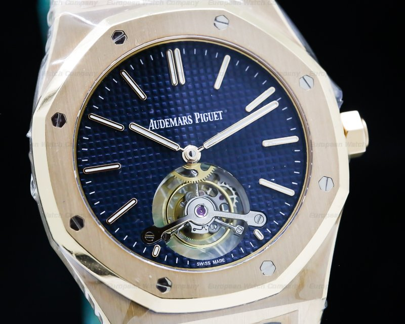 Audemars Piguet 26510OR.OO.1220OR.01 Royal Oak Tourbillon Extra Thin Blue Dial Rose Gold UNWORN
