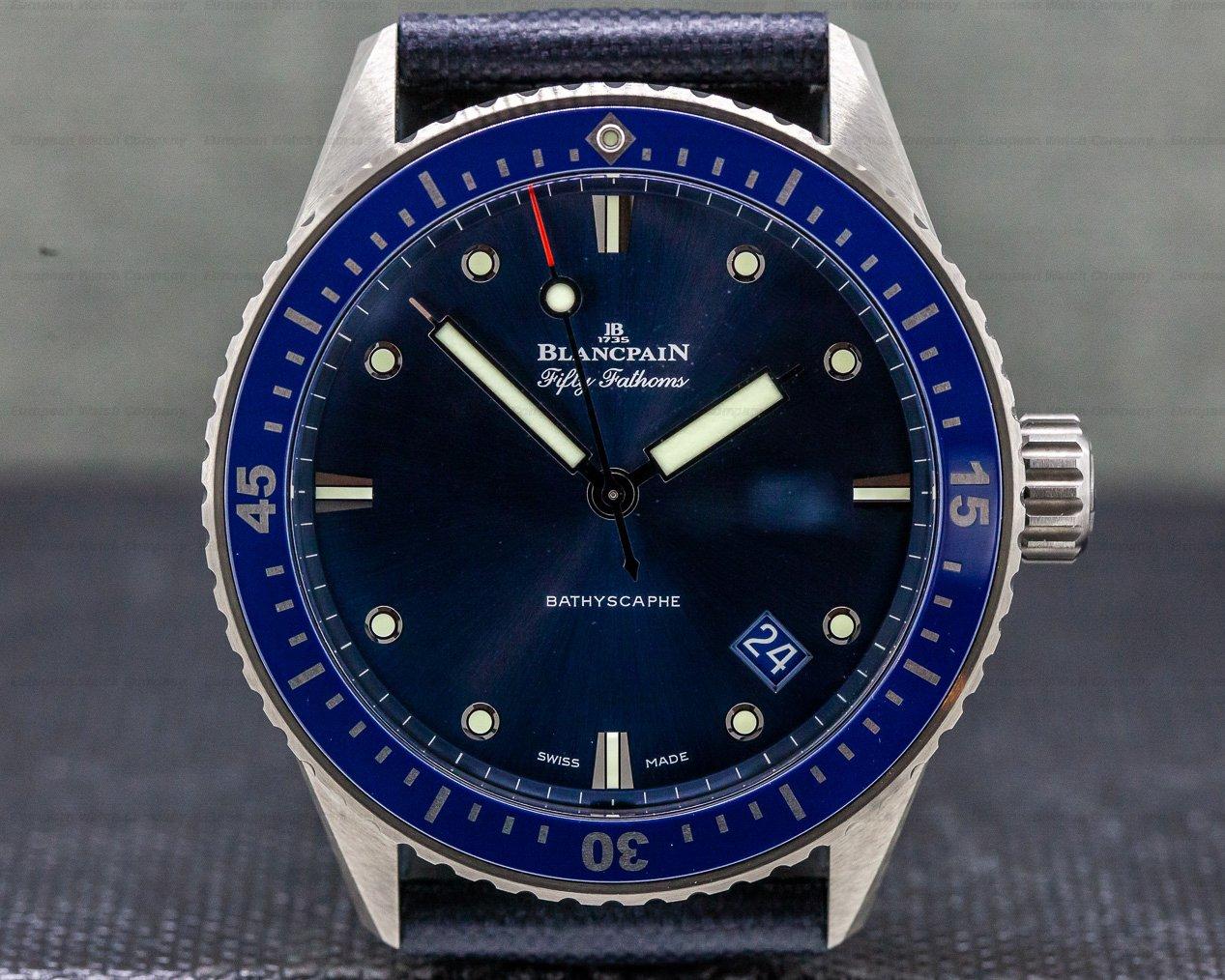 Blancpain 5000-0240-o52a Fifty Fathoms Bathyscaphe Ceramic Blue UNWORN
