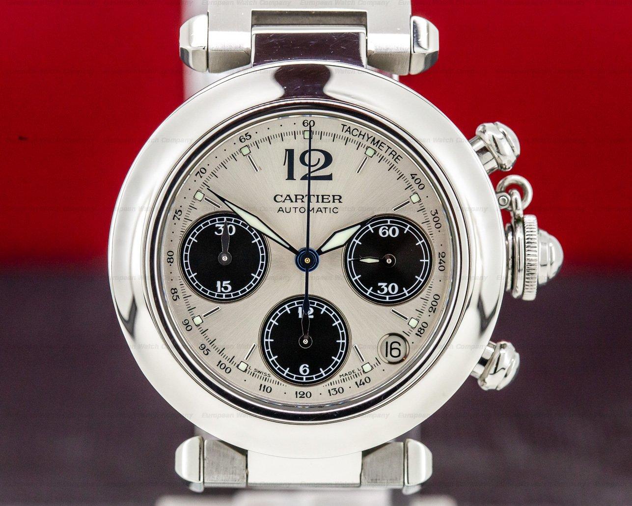 Cartier 2412 Pasha C Chronograph SS Panda Dial