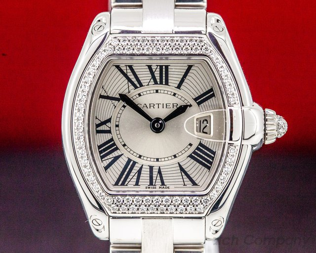 Cartier WE5002X2 Roadster Ladies 18K White Gold Diamond Bezel
