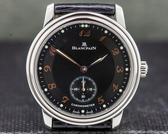 Blancpain 7002-1130-55 Ultra Thin Black Manual Wind Chronometer SS