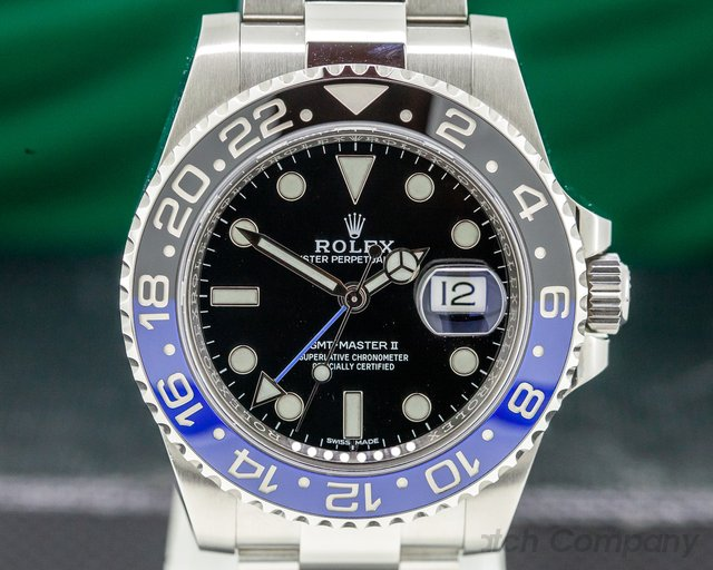 "Rolex 116710 BLNR GMT Master II Ceramic Black & Blue ""Batman"" SS"