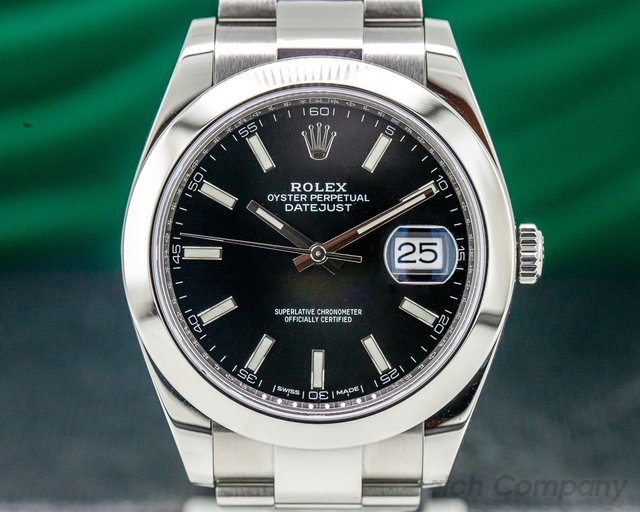 Rolex 126300 Datejust 41 Black Stick Dial SS