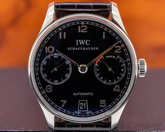 IWC IW500109 Portuguese 7 Day Automatic SS Black Dial