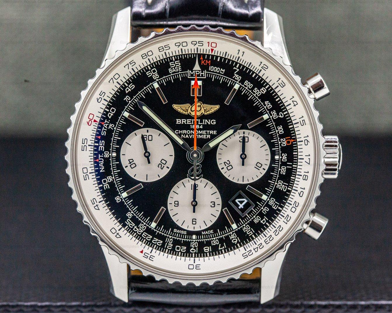 Breitling AB012012/BB01 Navitimer 01 Chronograph Black Dial Black Leather
