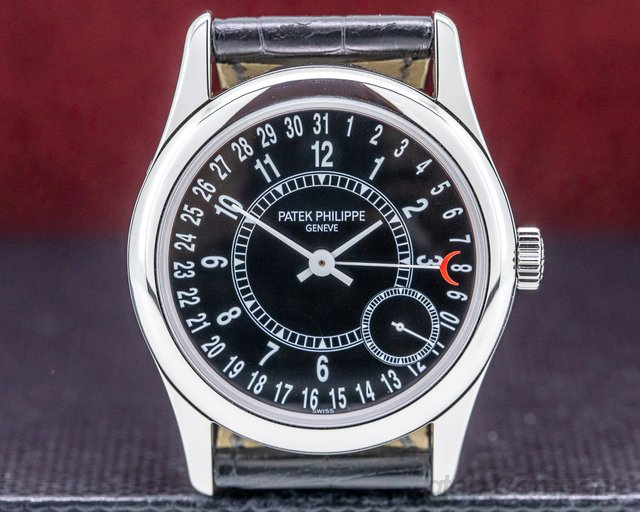 Patek Philippe 6000G-001 Calatrava Black Dial 18K White Gold / Deployant