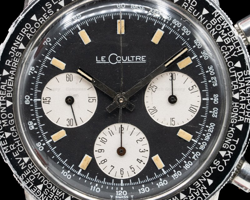 Jaeger LeCoultre E2643 Vintage Shark Deep Sea Valjoux 72 Chronograph SS Box and Papers
