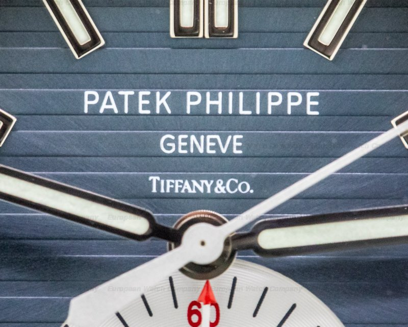 "Patek Philippe 5980/1A-001 TIFFANY Nautilus Chronograph 5980 SS Blue Dial ""TIFFANY & CO"""