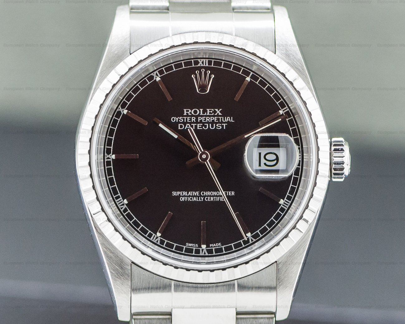 Rolex 16220 Datejust Black Dial SS Oyster