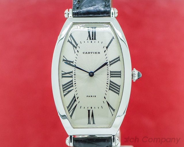 Cartier 2435 Platinum Tonneau Cintree Manual Wind 1990s RARE