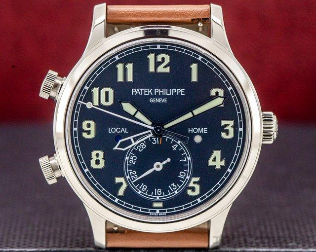 Patek Philippe 5524G-001 Calatrava Pilot Travel Time 18k White Gold UNWORN