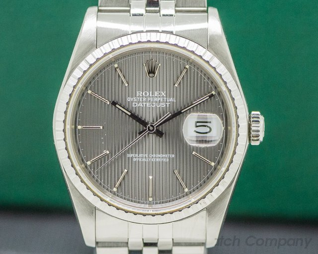 Rolex 16220 Datejust Grey Tapestry Dial SS Jubilee