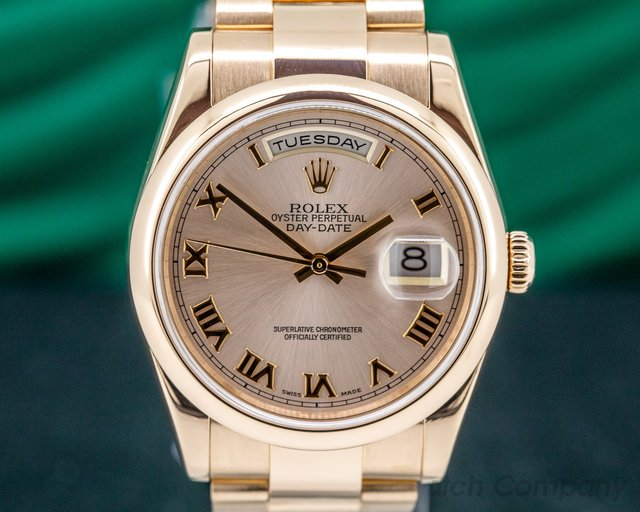 Rolex 118205 Day Date Oyster President Rose Roman 18K Rose Gold FULL SET