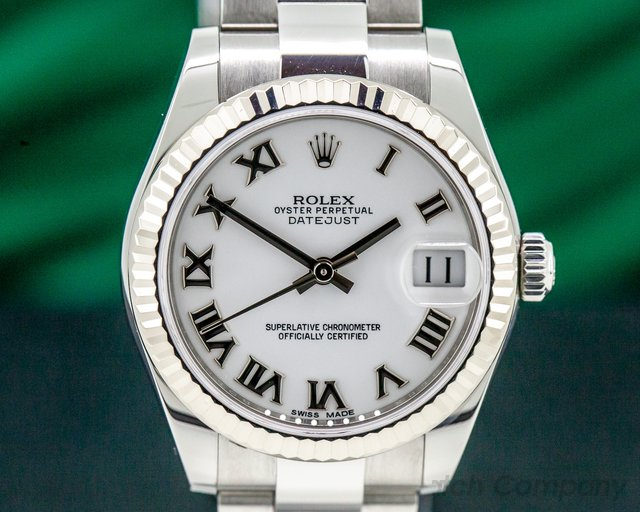 Rolex 178274 Datejust Midsize Oyster White Roman Dial 31MM