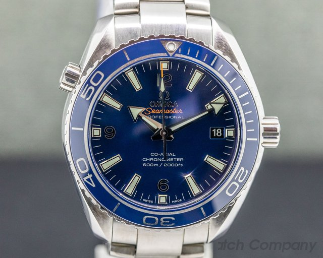 Omega 232.90.42.21.03.001  Seamaster Planet Ocean Co-Axial Blue Dial Titanium