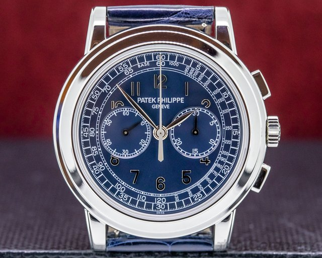 Patek Philippe 5070P 5070 Platinum Blue Dial Chronograph EXCELLENT FULL SET