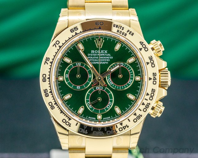 Rolex 116508 Daytona 18k Yellow Gold / Bracelet GREEN DIAL UNWORN & STICKERED