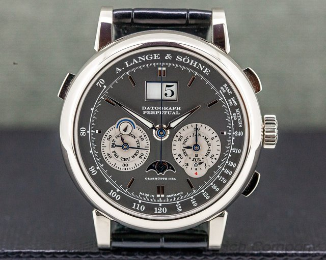 A. Lange and Sohne 410.038E Datograph Perpetual Calendar Chronograph White Gold RARE