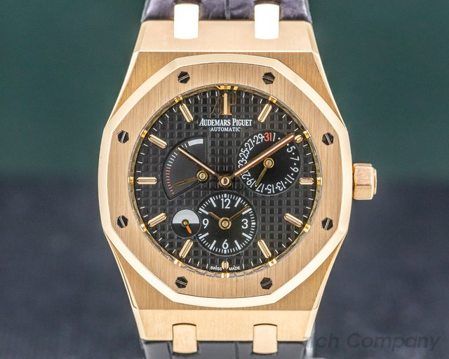 Audemars Piguet 26120OR.OO.D002CR.01 Royal Oak Dual Time 18K Rose Gold / Black Dial
