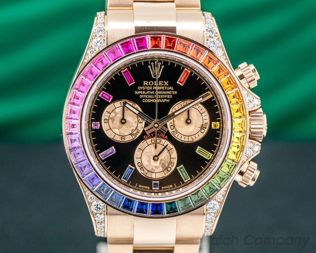 Rolex 116598RBOW Daytona RAINBOW / Rose Gold Black Dial 116598RBOW UNWORN