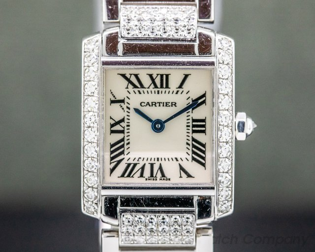 Cartier 2403 Tank Francaise Mini Quartz 18K White Gold DIAMONDS