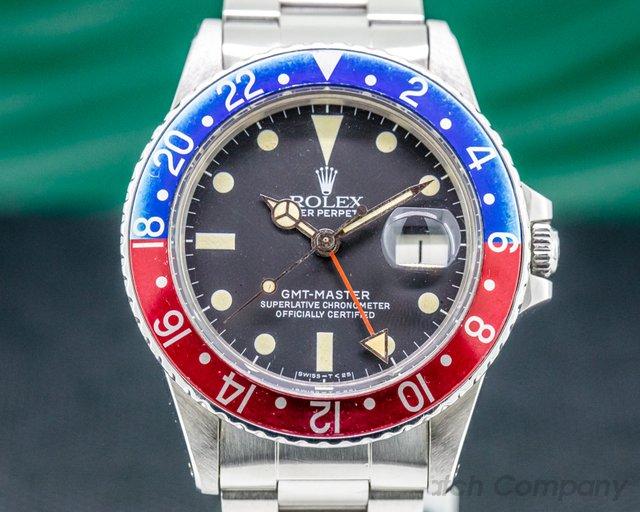 """Rolex 16750 GMT Master Transitional  """"Pepsi Bezel"""" Matte Dial Circa 1983"""