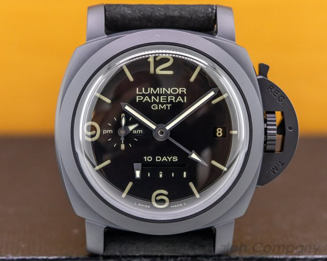 Panerai PAM00335 Luminor 1950 10 Day GMT Ceramic Black Dial