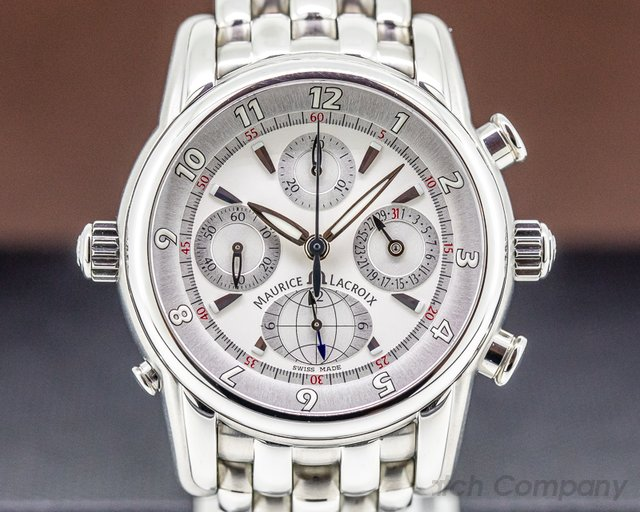 Maurice Lacroix MP6398-SS-002 Masterpiece Chronograph Globe GMT Silver Dial SS / SS