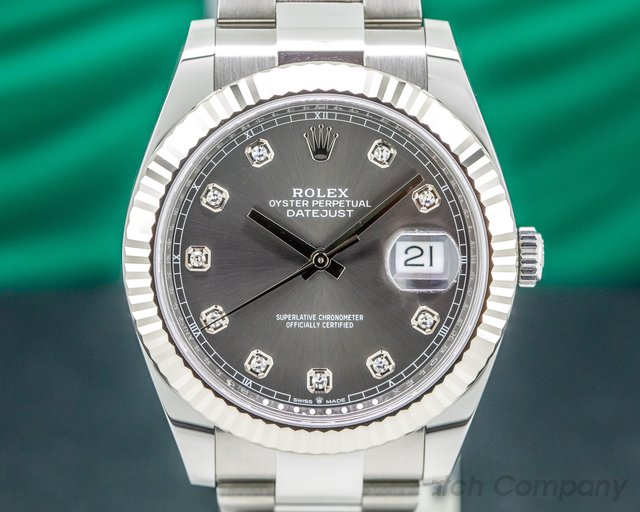 Rolex 126334 Datejust 41 Dark Rhodium Dial DIAMONDS UNWORN