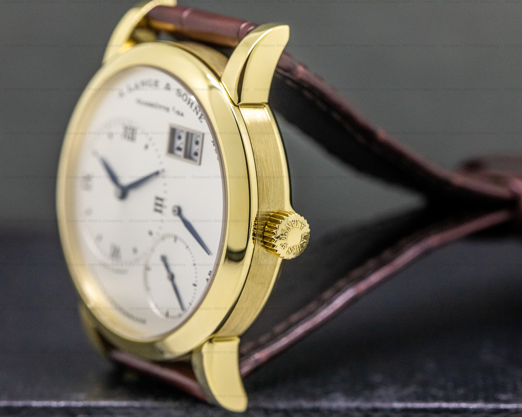 A. Lange and Sohne 101.022 Lange 1 18K Yellow Gold Blue Hands Silver Dial