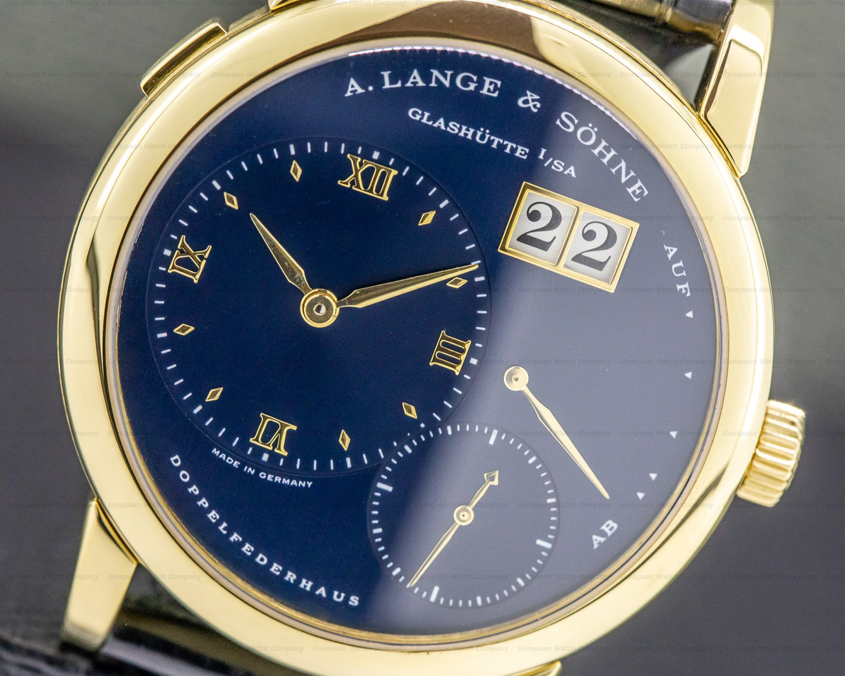 A. Lange and Sohne 101.028 Lange 1 Yellow Gold Blue Dial