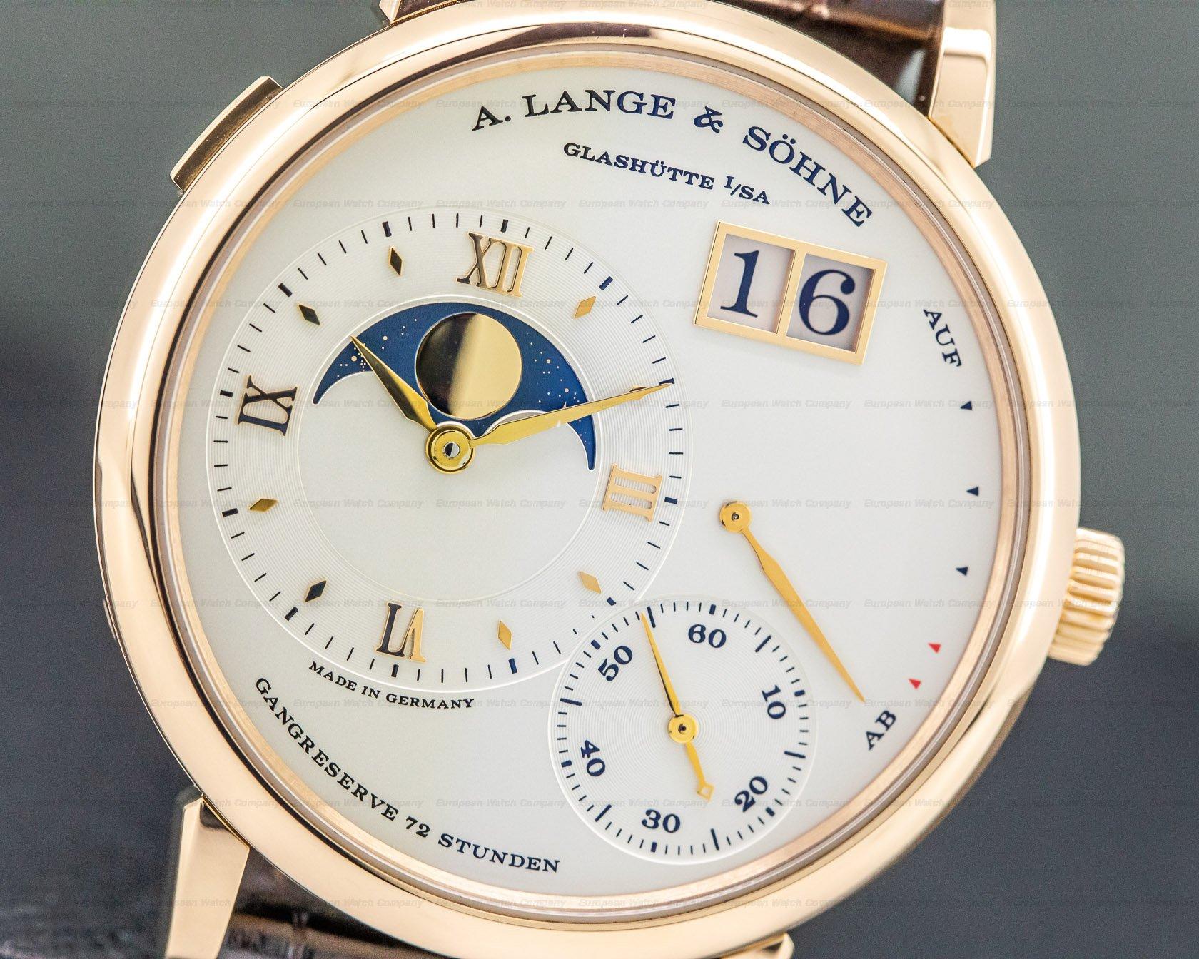 A. Lange and Sohne 139.032 Grande Lange 1 Moon Rose Gold / Deployment Buckle