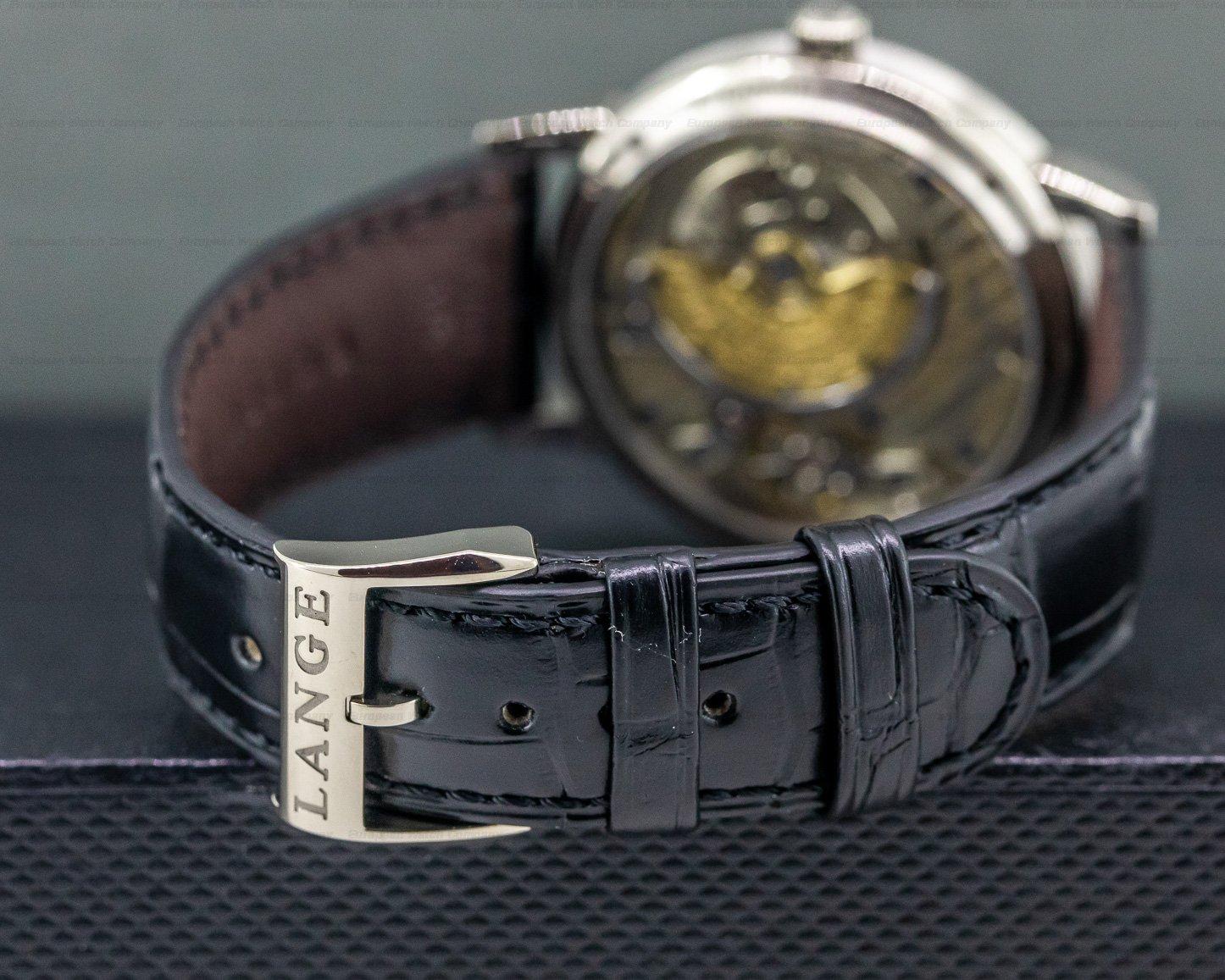 "A. Lange and Sohne 308.027 Langematik Big Date ""Sax-O-Mat"" Black Dial 18K White Gold"