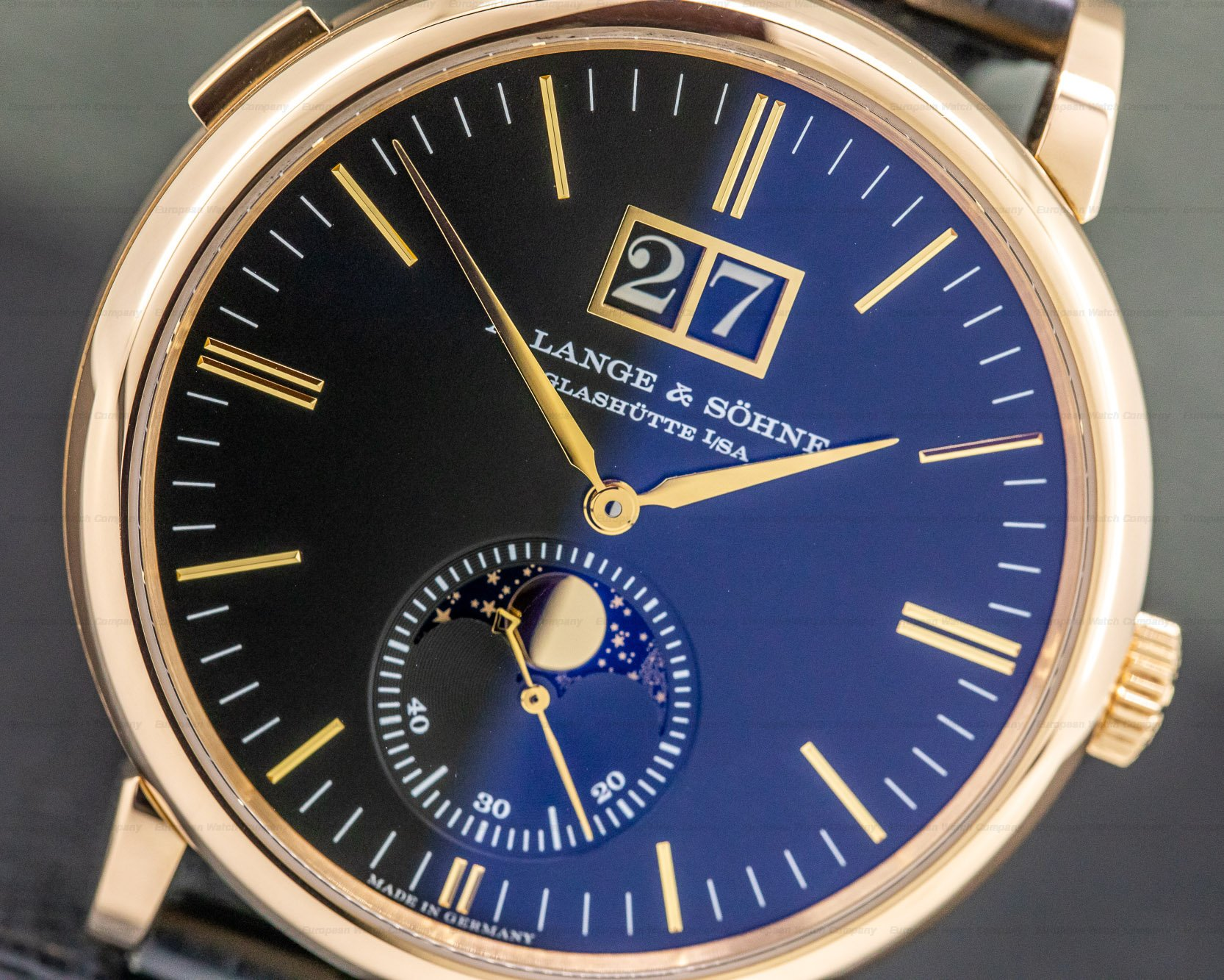 A. Lange and Sohne 384.031 Saxonia Moon Phase Automatik 18K Rose Gold / Black Dial