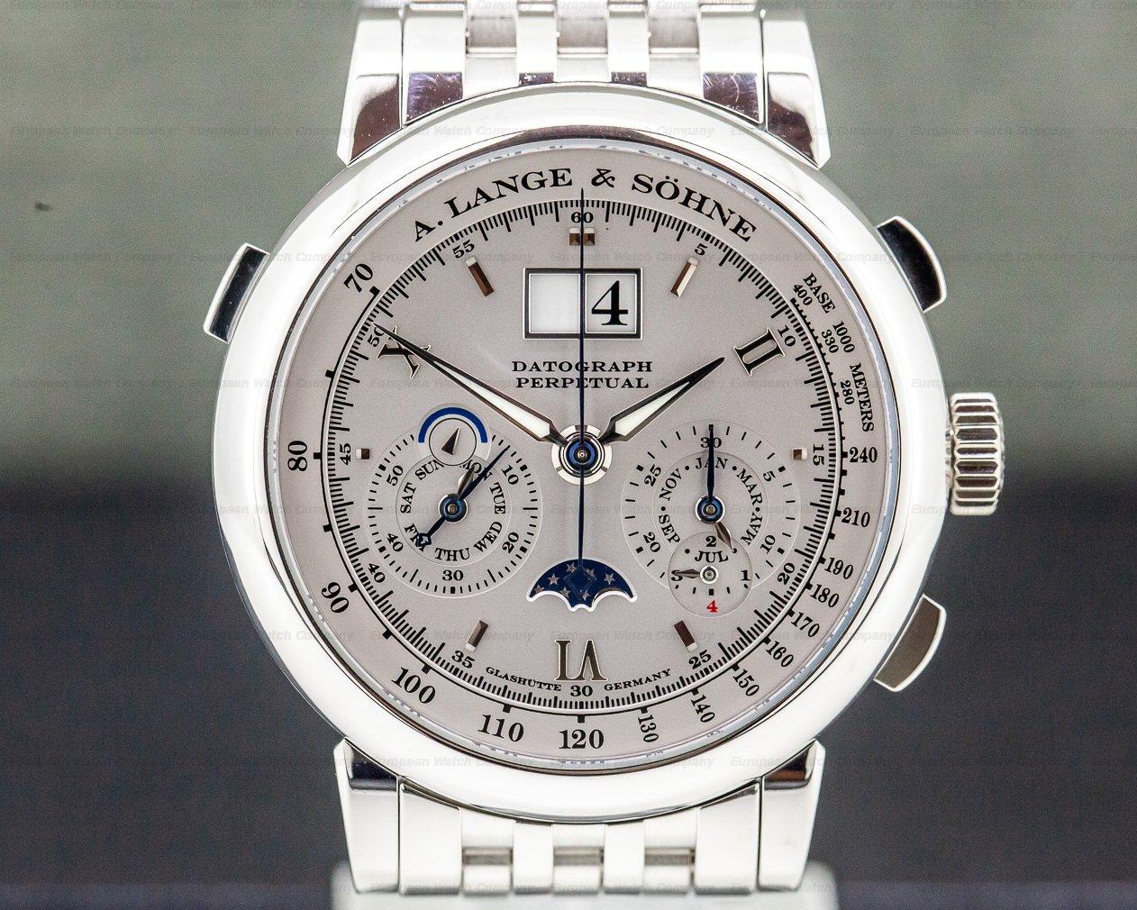 A. Lange and Sohne 410.025 Datograph Perpetual Calendar Chronograph Platinum BRACELET