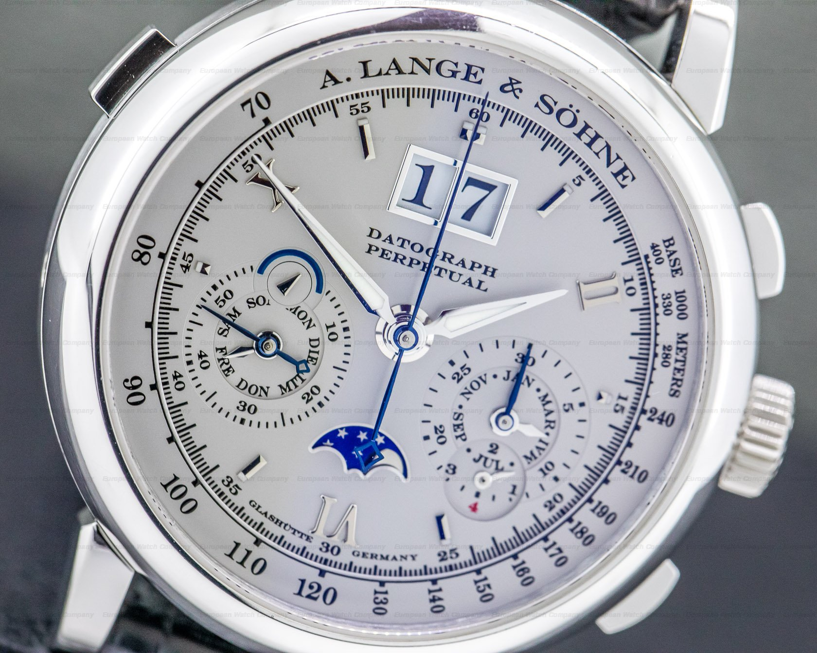 A. Lange and Sohne 410.025 Datograph Perpetual Calendar Chronograph Platinum