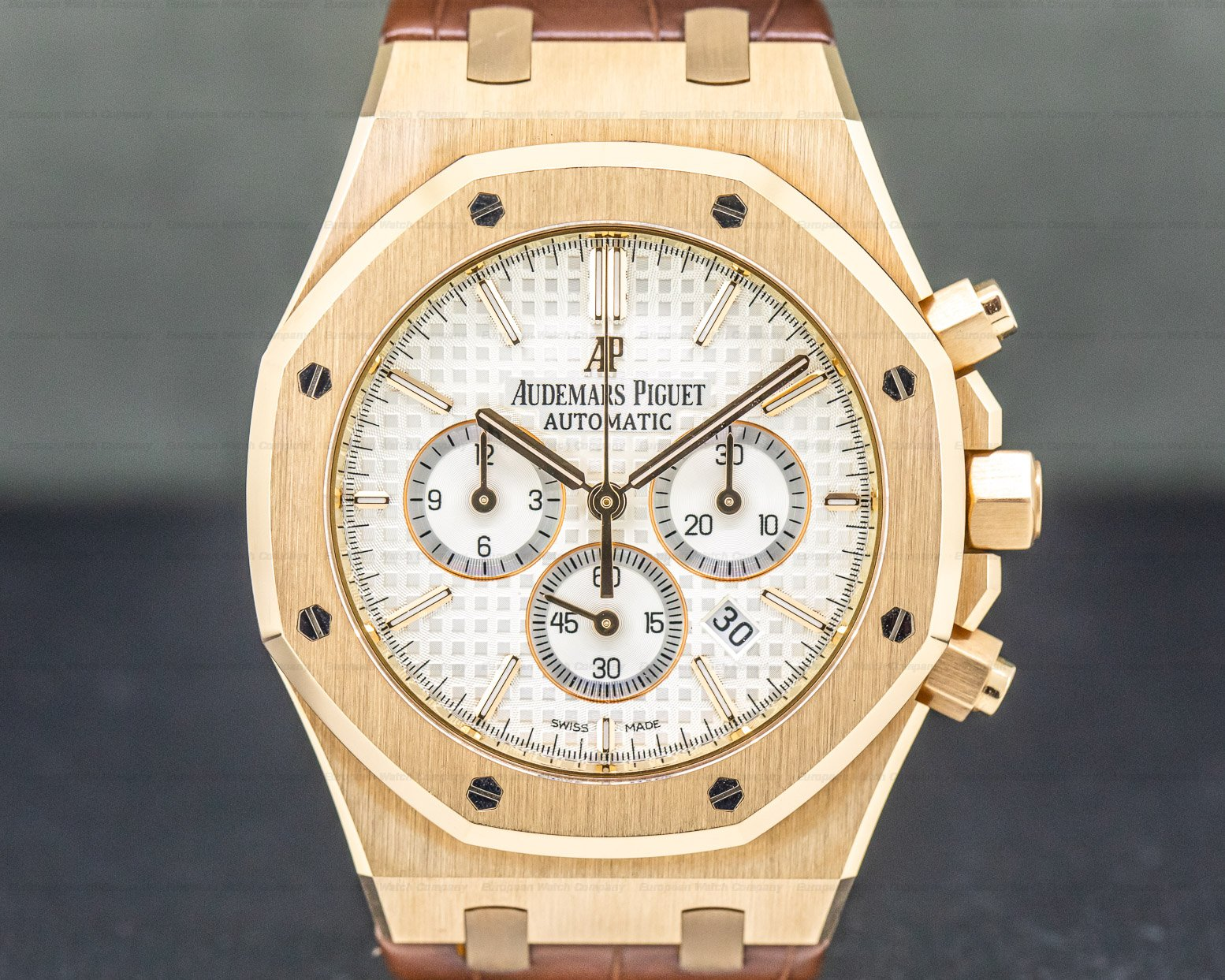 Audemars Piguet 26320OR.OO.D088CR.01 Royal Oak Chronograph Silver Dial / Brown Strap