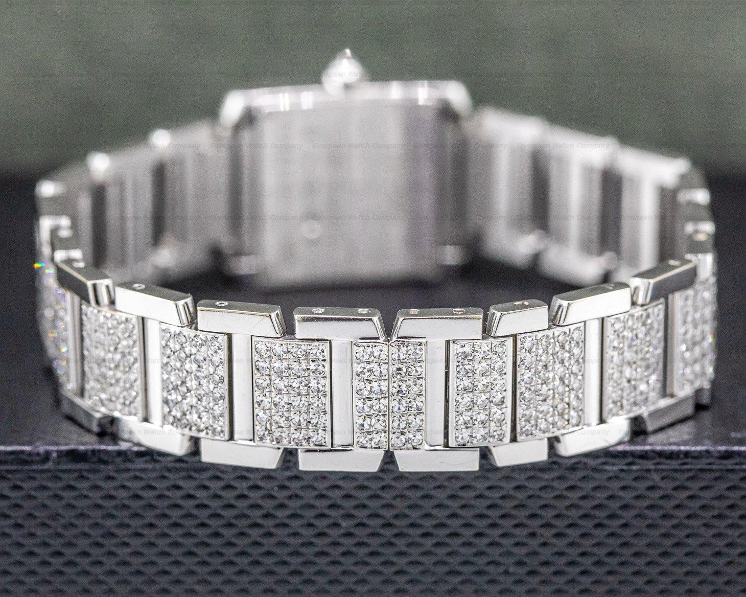 Cartier 2403 Tank Francaise Mini Quartz 18K White Gold DIAMONDS