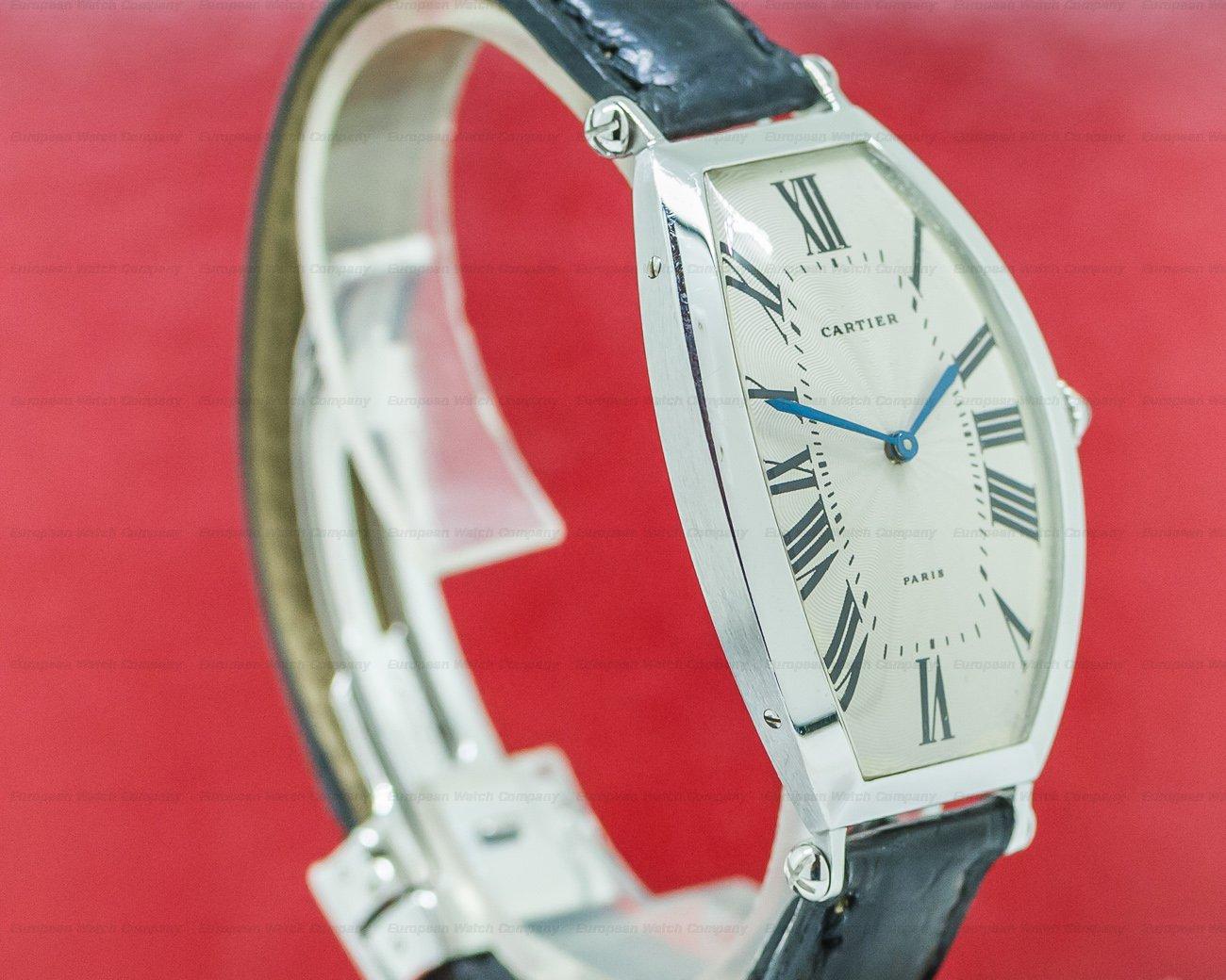 Cartier 2435 Platinum Tonneau Cintree Manual Wind 1990s RARE