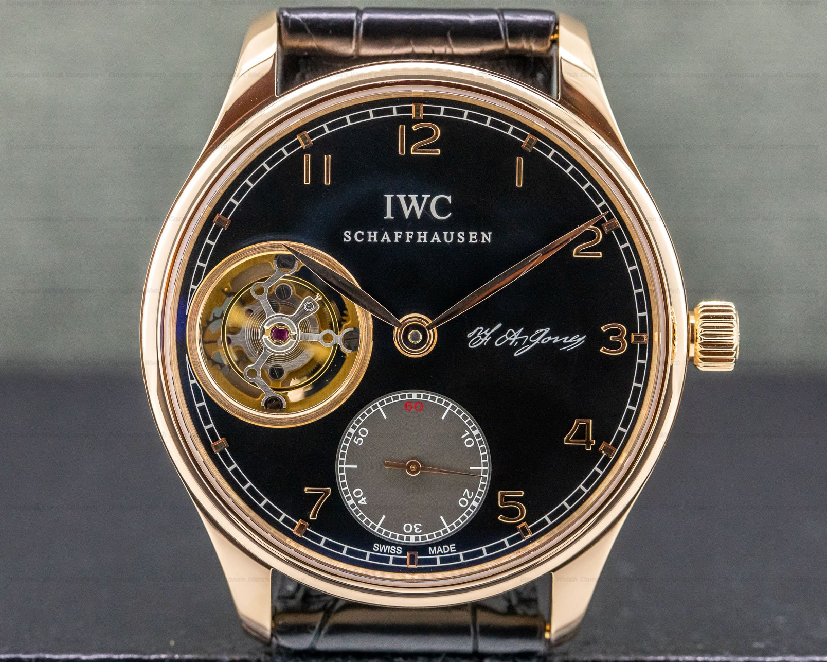 IWC IW544705 Portuguese Tourbillon Hand Wound 18K Rose Gold BLACK Dial LIMITED
