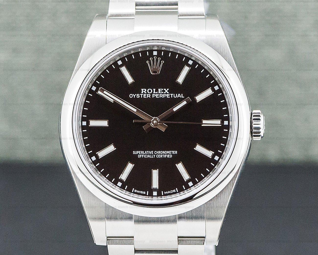 Rolex 114300 Oyster Perpetual SS Black Stick Dial UNWORN