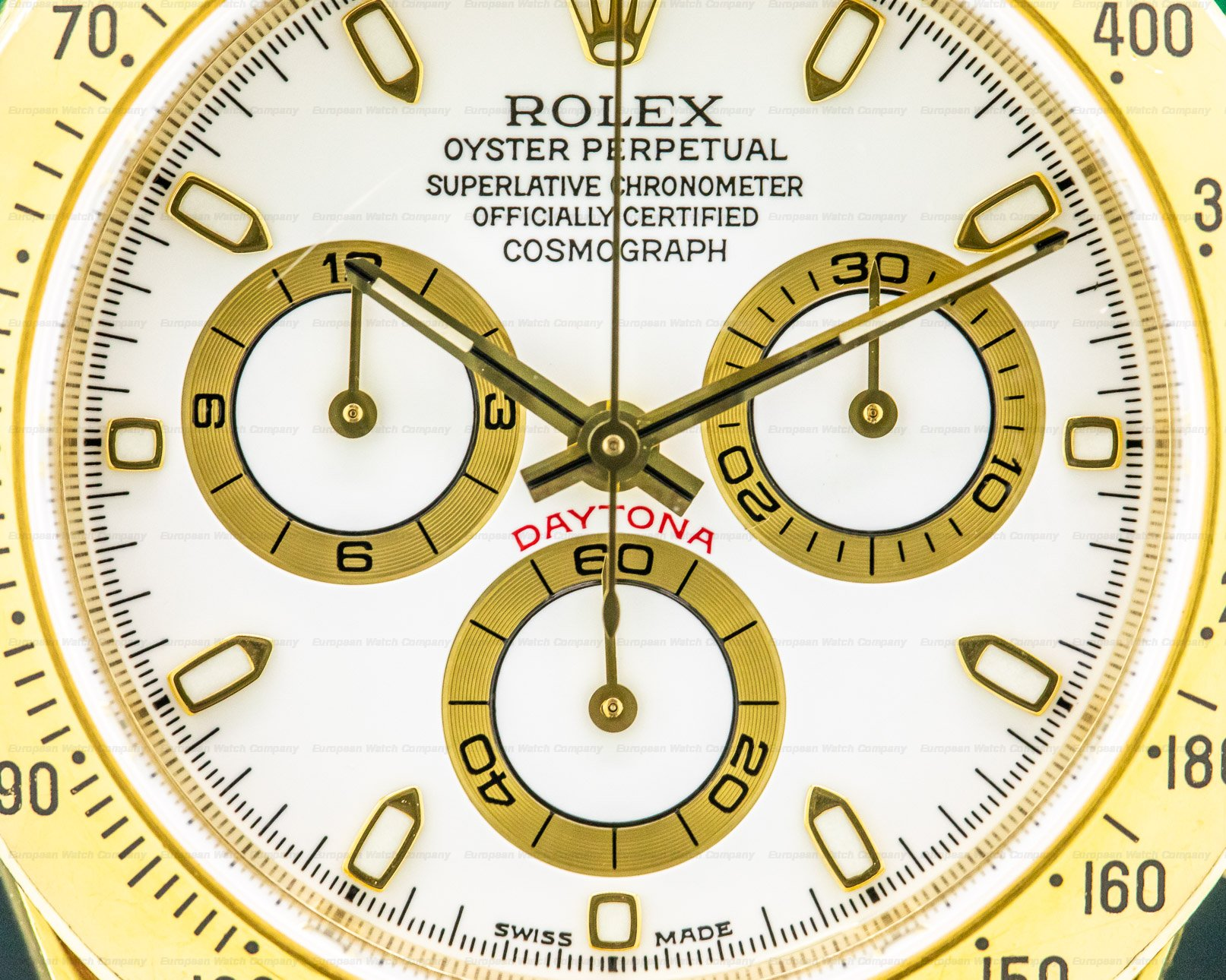 Rolex 116528 Daytona 18K Yellow Gold White Dial BOX & PAPERS