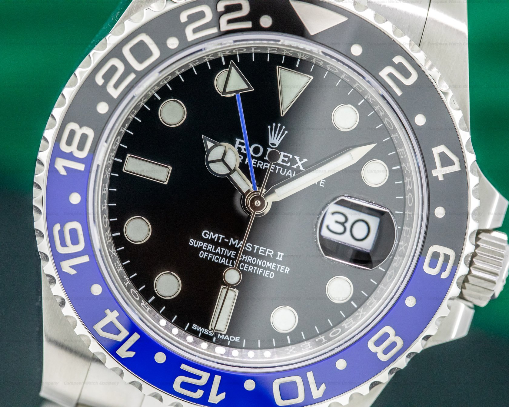 "Rolex 116710BLNR GMT Master II Ceramic Black & Blue ""Batman"" SS"