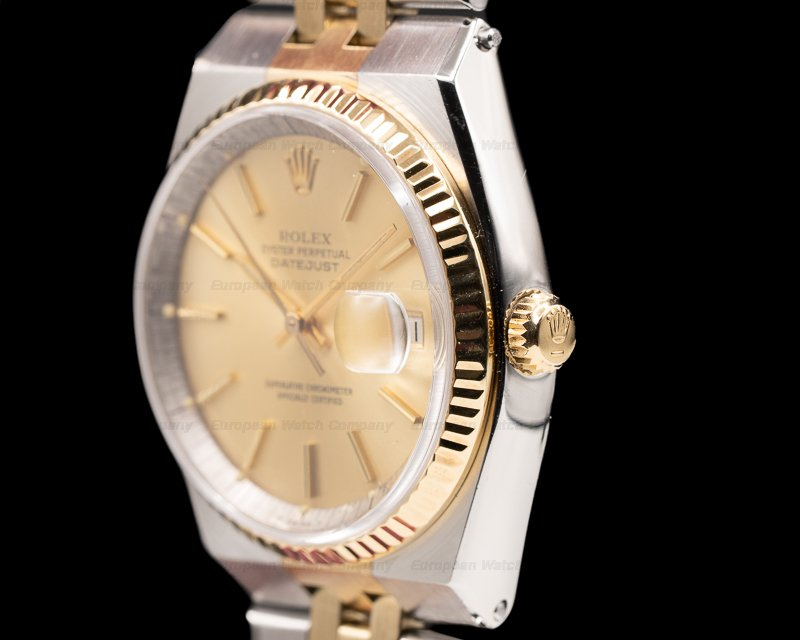 Rolex 1630 Datejust Champagne Dial SS/18K Yellow Gold 1970's RARE