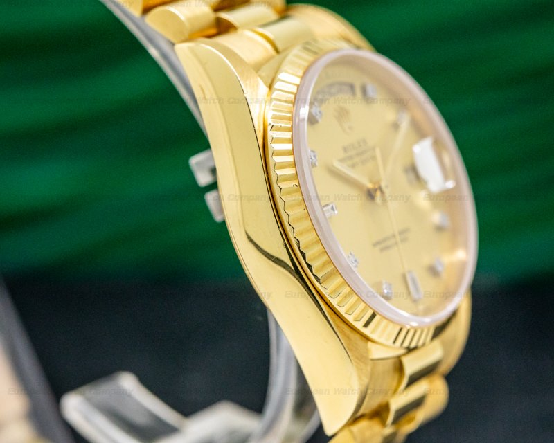 Rolex 18038 Day Date Champagne Diamond Dial Yellow Gold EXCELLENT