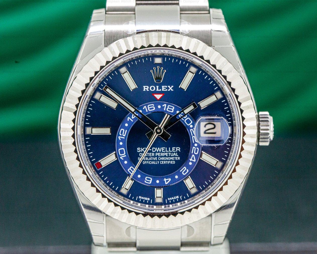 Rolex 326934 Sky Dweller Steel Blue SS / SS UNWORN & STICKERED