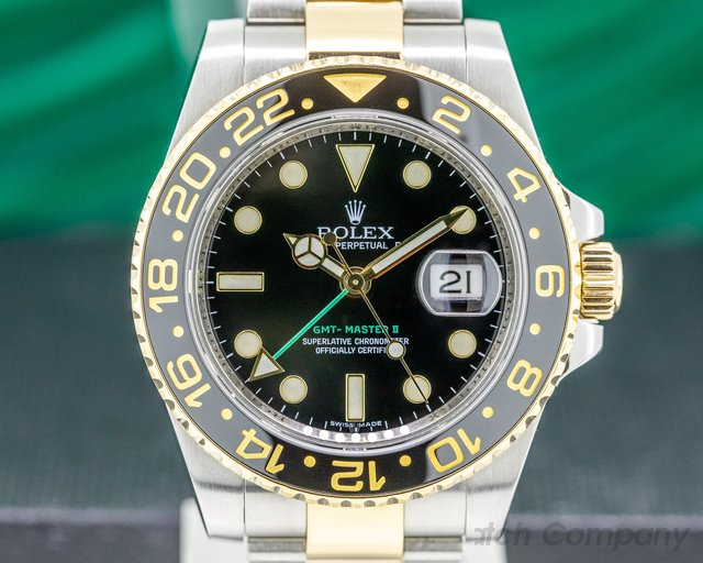 Rolex 116713LN GMT Master II SS / 18K Yellow Gold Black Dial
