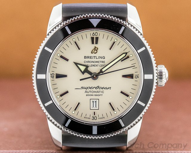 Breitling A1732024/G642 SuperOcean Heritage 46 Silver Dial SS / Rubber