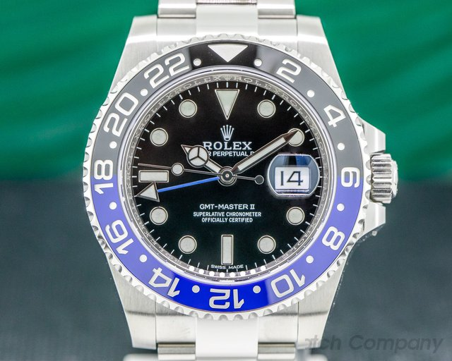 "Rolex 116710BLNR GMT Master II Ceramic Black & Blue ""Batman"" SS UNWORN"